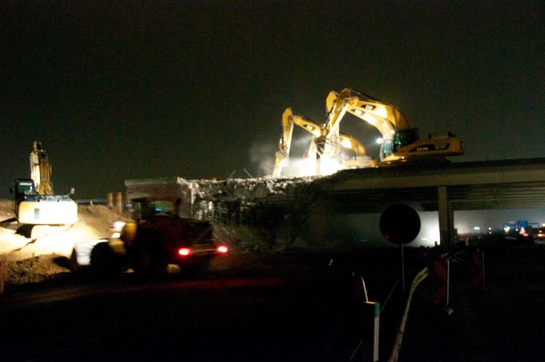 Februar 2011 – Abbruch der ersten Brückenhälfte